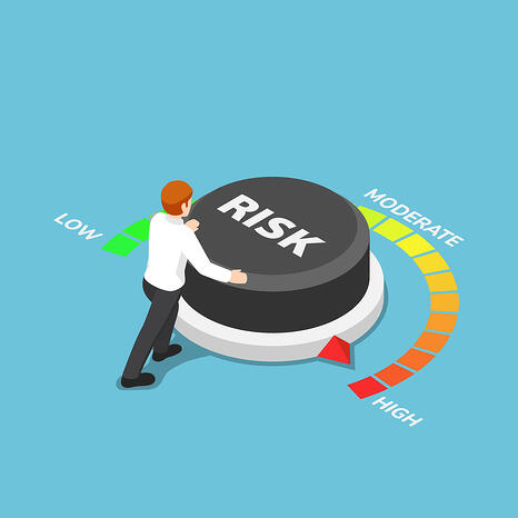 iStock-1096322874 person turning risk arrow with low, moderate and high